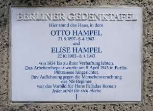 """Gedenktafel Amsterdamer Str 10 (Wedd) Elise und Otto Hampel"" by OTFW, Berlin - (own). Licensed under Creative Commons Attribution-Share Alike 3.0-2.5-2.0-1.0 via Wikimedia Commons - http://commons.wikimedia.org/wiki/File:Gedenktafel_Amsterdamer_Str_10_(Wedd)_Elise_und_Otto_Hampel.jpg#mediaviewer/File:Gedenktafel_Amsterdamer_Str_10_(Wedd)_Elise_und_Otto_Hampel.jpg"